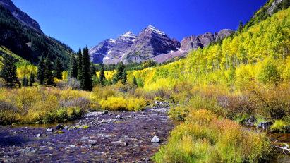 Fall foliage and a mountain stream